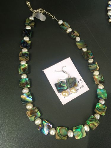 Paua & Freshwater Pearl Necklace & Earring SET PFN13-Q
